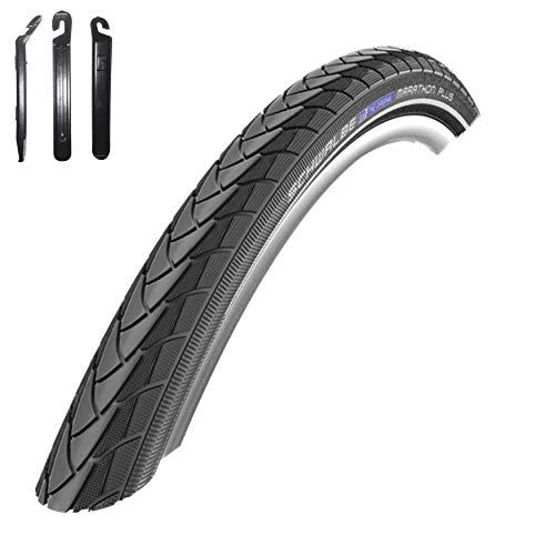 Angebot-Set / 1 x Schwalbe Marathon Plus Unplattbar Reflex Fahrrad Reifen 25-622 (28 x 1,00) inkl. 3 Reifenheber