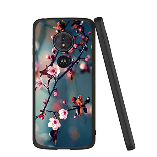 Pnakqil Funda Motorola Moto G6 Play Silicona Ultrafina Negra con Dibujos Diseño Suave TPU Gel Antigolpes de Protector Piel Case Cover Cárcasa Fundas para Movil Samsung Moto G6Play, Flor de melocotón