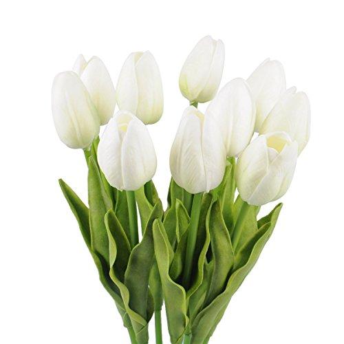 Crazy Shop Künstliche Tulpen, seidige Kunstblumen, Latex, echte Haptik, für Hochzeit, Zuhause, Büro, Party, Dekoration, Brautschmuck, 33 cm, 10 Stück weiß