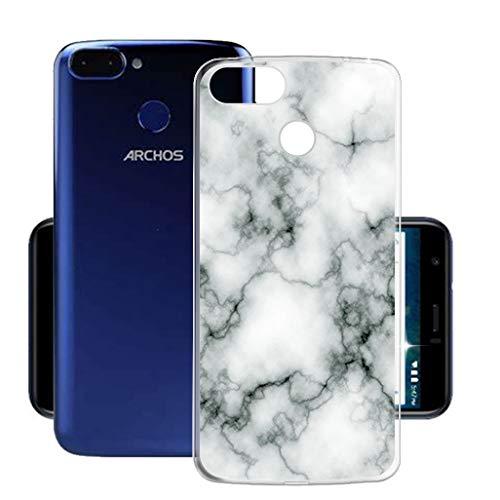 HHUAN Hülle für Archos Core 60s Semi-Transparent Hülle Dünn Weiche Silikon Marmor Stoßfest Handyhülle Tasche Schale Bumper TPU Schutzhülle Cover für Archos Core 60s (6.0