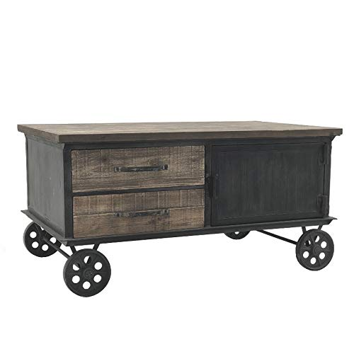 L'ORIGINAL DECO Large Coffee Table on Wheels Cupboards Drawers 130 cm x 70 cm