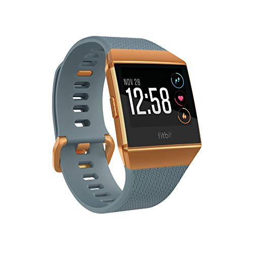fitbit ionic gps smart watch, slate blue/burnt orange, one size (s and l bands included)