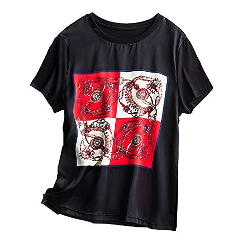 N\P Camiseta de manga corta con estampado de gusano de seda de verano para mujer