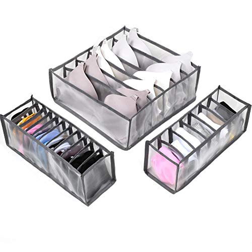 3pcs Underwear Drawer Organiser Socks Holders Dividers Underwear Storage Boxes Drawer Closet Organizer Saver Bags for Storing Socks, Bra, Handkerchiefs Gray
