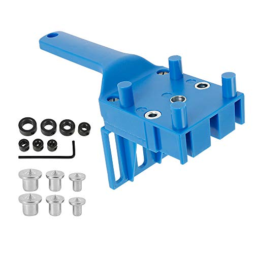 8Pcs Woodworking Doweling Jig Kit 6/8/10mm Handheld Wood Dowel Drilling Guide for Carpentry Woodworking Tool Hole Puncher Drill Tools (Blue)