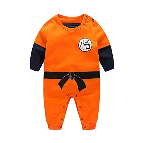 SIPEIEN Pelele para bebé y niña, disfraz de cosplay de una pieza inspirado en Goku Naranja Manga larga naranja. 2 mes