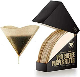 VXN 100 Pieces Coffee Filters Premium Unbleached Disposable Natural Coffee Drippers Papers Coffee Filter-(2-4 Cups)(V60 Fi...
