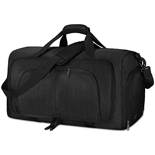 NEWHEY Foldable Travel Duffle Bag 40L 65L 80L Holdall Bag Large Weekend Overnight Bag with Shoes Compartment Sports Gym Bags for Men & Womem