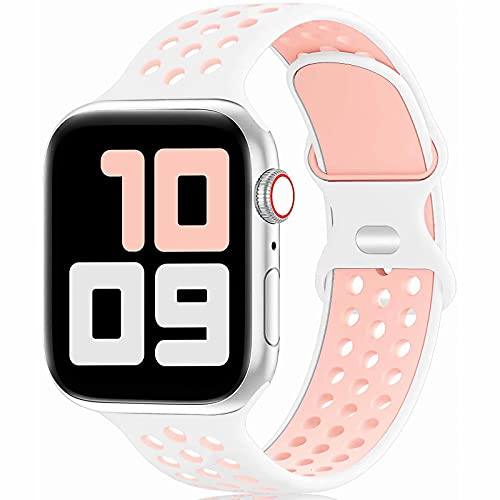 Fengyiyuda Reemplazo Deportivo de Silicona Compatible con Correa Apple Watch Pulsera 38 mm 40 mm 42 mm 44 mm, Pulsera Suave y Transpirable para iWatch Series 6/5/4/3/2/1 / SE White&Pink-38/40-S