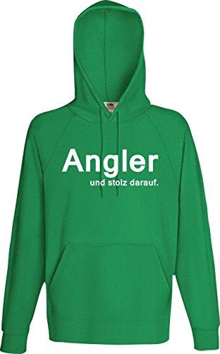 Unbekannt Männer Kaupuzensweatshirt; Angler und stolz darauf; Farbe Kelly, Größe L