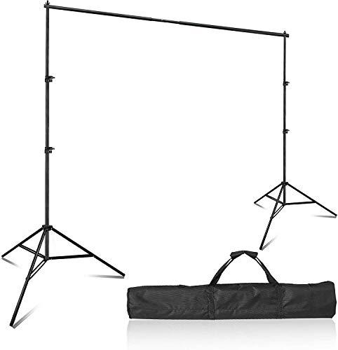 7x10 ft/2x3m Fotostudio Hintergrund Ständer Greenscreen Hintergrundsystem Kit mit Tragetasche Backdrop Stand für Muslins Hintergrund, Papier and Canvas