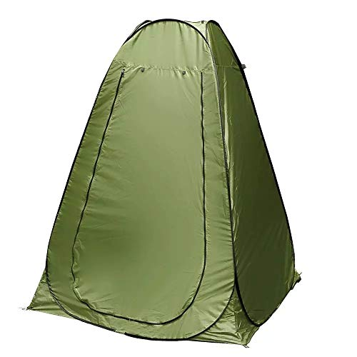 Portable Pop Up Privacy Tent -Great for Outdoor Camping Shower, Bathroom, Camp Toilet, Instant Dressing Room-Roomy Rain Shelter-for Hiking, Fishing-Easy Up-Lightweight but Sturdy-Color Green