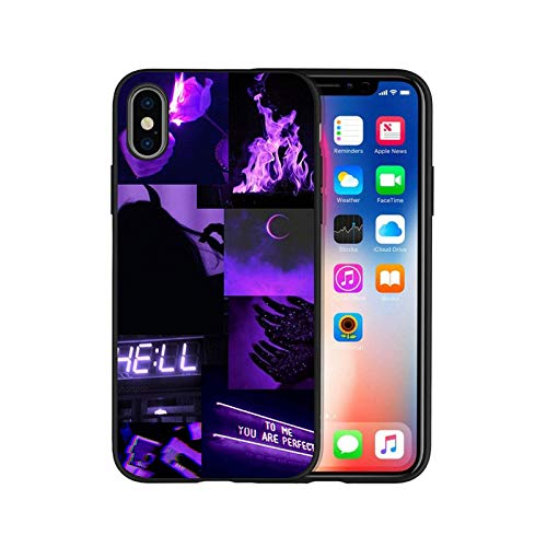 Purple Love Aesthetic Art Black Silicone Phone Case for iPhone 12 XR XS Max 5 5S SE 2020 6 6S Plus 7 8 X 11Pro Max 11 Cover-H20060103-08.Jpg-for iPhone 7