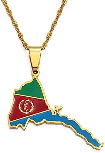 Yiffshunl Collar de Mapa de Eritrea, Colgante de Bandera, Collares Finos para Mujeres y niñas, joyería de Color Dorado, Collar de Mapa de Eritrea Africano, Regalo