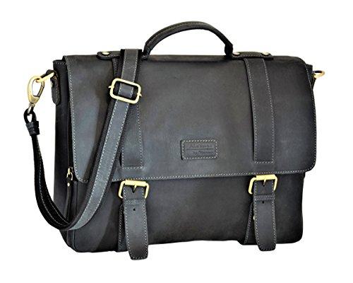 Menzo Stanford Aktentasche aus echten Leder für Damen und Herren, Vintage Umhängetasche, Messenger Bag, Lehrertasche (schwarz)