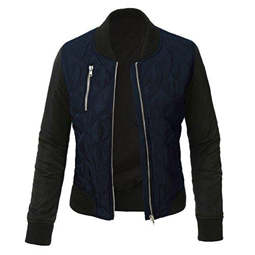 Minetom Mujer Otoño Invierno Casual Costura Cremallera Jackets Chaquetas Deportiva Cuero Moto Cazadoras Biker Abrigos Outwear Azul ES 48