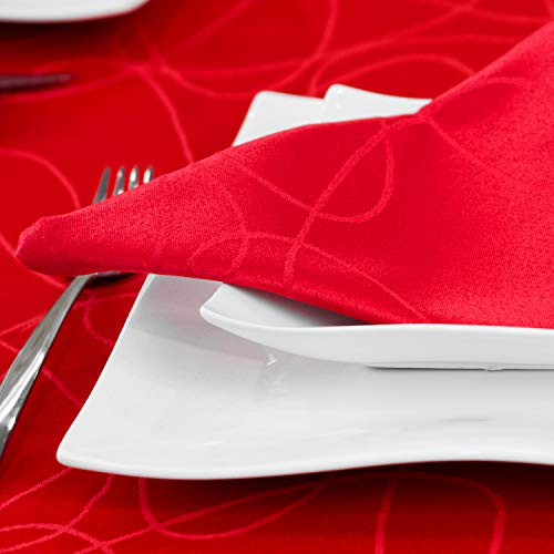 BGEUROPE Lineas - Tovaglia da tavolo, trattamento antimacchia, taglie grandi, colore rosso, 12 Napkins 18 x 18 (45 x 45 cm)