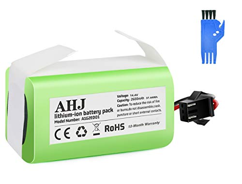 AHJ Batería de Reemplazo Compatible con Cecotec Conga Excellence 990 950 1090, Ecovacs Deebot N79S N79, IKOHS NETBOT S14 S15, Eufy RoboVac 11S 11S MAX 15C 30, 14.4V 2600mAh Li-Ion Batería con Cepillo