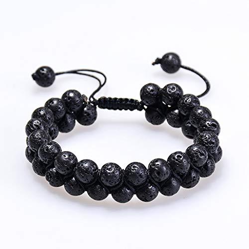 Rongzou Natural Energy Stone Aceite Esencial Lava Rock Negro Onyx Tiger Eye Beads Pulsera