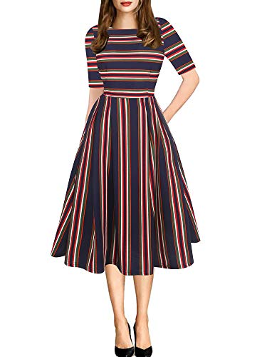 oxiuly Women's Vintage Classic Stripe Fit and Flare Stretchy Cotton Knee-Length Empire Waist Half Sleeve Swing Dress Casuak Ball Gown Party Cocktail A Line Tea Dresses OX165 (XL, Blue Stripe)