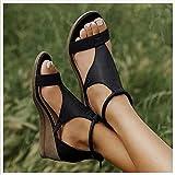 New 2021 Women's Platform Sandals T-Strap Block Heel Sandals Heeled Ankle Wedge Ankle Strap Open Toe Sandals,with Zipper Vintage Beach Sandals Ladies Walking Shoes,Plus Size 34-43Black-EUR 36/USA 5