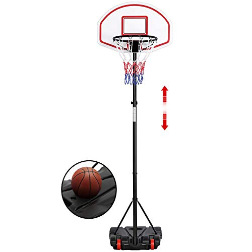 Yaheetech Canestro Basket Esterno Portatile Altezza Regolabile 196-251 cm Pallacanestro da Camera Interno Sportivo Rosso