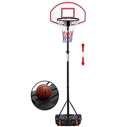 Yaheetech Canasta de Baloncesto con Soporte Portátil Tableros de Baloncesto Altura Ajustable 159-214 cm Sistema de Baloncesto