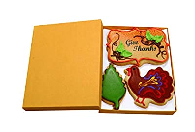 Thanksgiving Cookie Gift Basket Vanilla Sugar Cookies Hand-Decorated Snack Variety Pack Kosher Gourmet Food Greeting Card For Women, Men Boys, Girls & Family 3 Count Prime Delivery