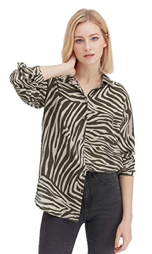 LilySilk Lässiges Seidenhemd Damenhemd Damenbluse Seidenbluse Langarmbluse Damen mit Zebrastreifen Verpackung MEHRWEG