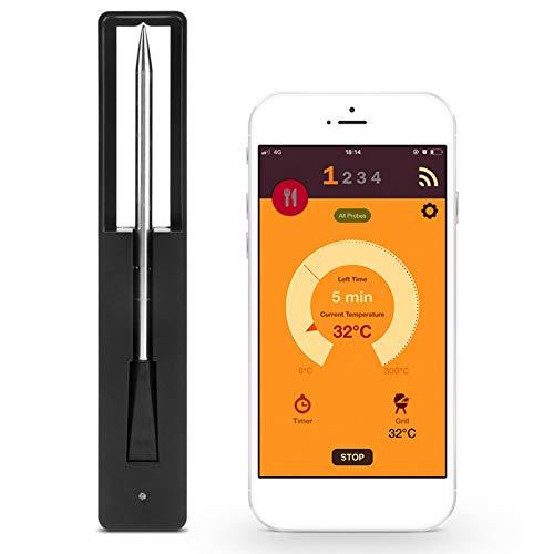 Lifemaison Bratenthermometer Digital Fleischthermometer Bluetooth Küchenthermometer Haushaltsthermometer Sofort Lesbar mit Langer 3.34 \'\' langes Sonden-Hängeloch für Lebensmittel BBQ