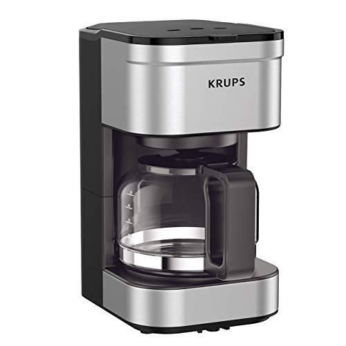 KRUPS KM202850 Simply Brew Compact Filter Drip Coffee Maker, 5-Cup, Silver (Renewed)