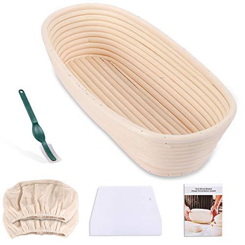 Gifort Gärkörbchen Oval Set, Brotteig Proofingkorb , ideale Brotform Brotkasten Gärkörbchen mit Brot und Teig mit Leineneinsatz, und Messer,Backen Kit , Bäckermesser