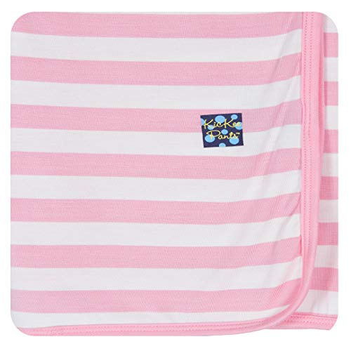 KicKee Pants Print Swaddle Blankets, Made from Viscose from Bamboo Fabric Making it a Silky Soft Baby Blanket, Security Blanket, Dreamy Swaddle Wrap (Lotus Stripe - One Size)