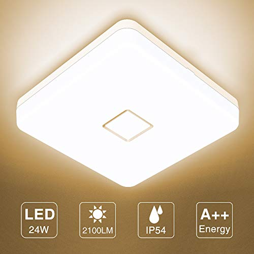 Onforu 24W LED Lampara de Techo Cocina, CRI 90+ IP54 Impermeable 2100LM LED Plafon Cuadrado para Salon Dormitorio Bano Aseo Habitacion Terraza Comedor, Igual al 220W, 2700K Blanco Calido Moderna