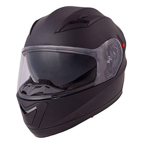 Vinz Integralhelm/Rollerhelm | Motorradhelm in Gr. S-XL | Integral Helm mit Sonnenblende (L (59-60 cm), Mattschwarz)