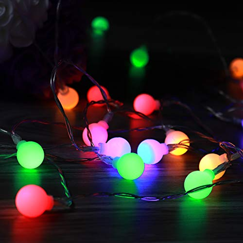 Globe Fairy Lights, 6M 40 Blub Fairy String Lights Colourful Waterproof USB & Battery Operated Fairy Light,Valentine's Day Decor Lights Indoor Outdoor Party Bedroom Wedding Garden Decoration Girl Gift