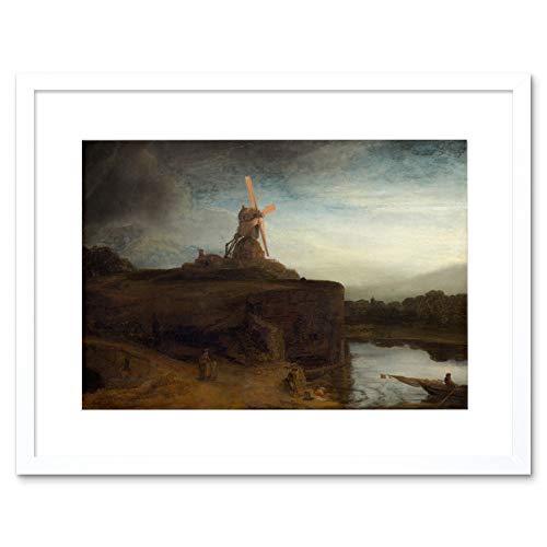 Wee Blue Coo Schilderij Landschap Rembrandt Molen Oude Meester Omlijst Muur Art Print