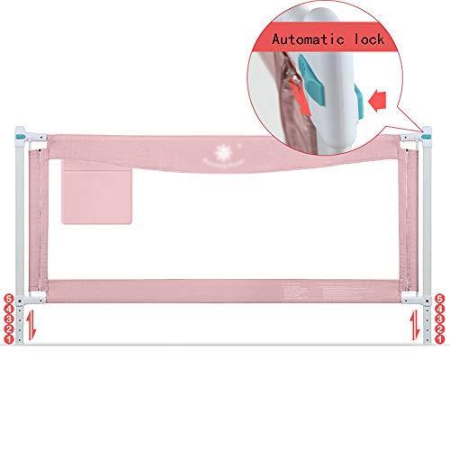 Barrière de lit HUO Verrouillage Vertical à Levage Vertical Baby Fence, réglable, 85 cm, Bleu, Poudre (Taille: 1,2 à 2,0 m) (Couleur : Pink, Taille : 1.5m)
