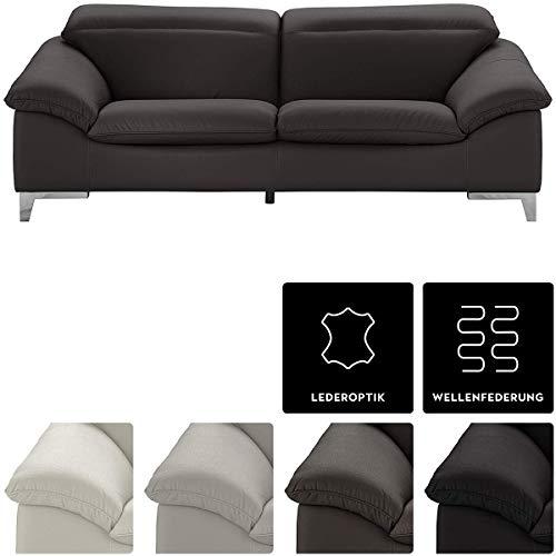 Mivano Ledersofa Teresa, Moderne 3-Sitzer Couch mit verstellbaren Kopfstützen, 235 x 84 x 109, Kunstleder Dunkelgrau