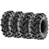 Set of 4 SunF A050 25x8-12 Front & 25x10-12 Rear Deep Mud + Trail ATV UTV Off-Road Tires, 6PR, Tubeless