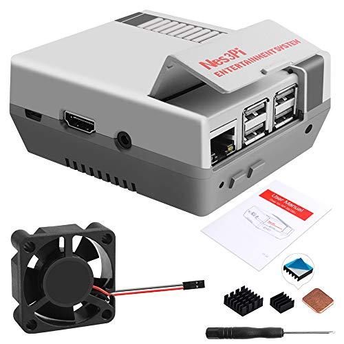GeeekPi Retro Gaming Nes3Pi Funda para Raspberry Pi 3 Modelo B/B+, Raspberry Pi 2B/3B/3B+ Funda con ventilador de refrigeración Raspberry Pi Disipadores de calor para Raspberry Pi 2B/3B/3B +