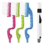 LEOBRO Hand-held Groove Gap Cleaning Tools Door Window Track Cleaning Brushes Air Conditioning Shutter Cleaning Brushes Pack of 4