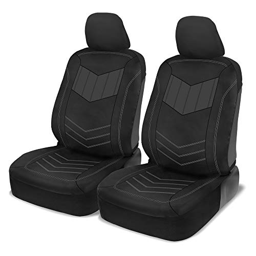 Motor Trend Super Sport Gray Faux Leather Car Seat Covers, Front Seats – Modern Two-Tone Design, Easy to Install, Universal Fit for Car Truck Van and SUV