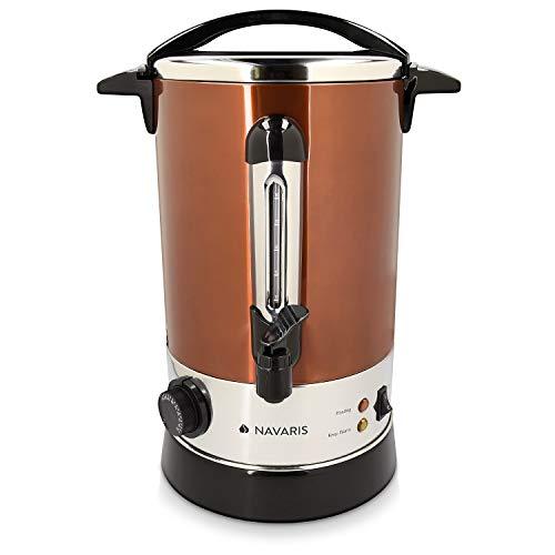 Navaris Glühweinkocher Heißwasserspender aus Edelstahl - 6,8l - mit Thermostat Füllstandanzeige Zapfhahn - Glühwein Heißgetränkeautomat Kupfer