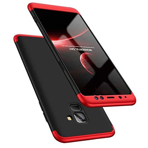 Coque Samsung Galaxy A8 2018 Rouge Noir 360 degrés Très Mince Tout Inclus Protection 3 dans 1 boîtier PC téléphone Case Cover-Rouge Noir