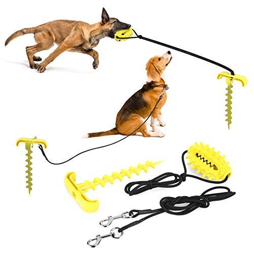 Pecute Hundespielzeug Kauspielzeug Tragbares 3 in 1 Hund Molar Bite Spielzeug, Outdoor Hundetraktionsseil Haufen Tauziehen Hundespielzeug, zäh und bissfest, Backenzähne, Zahnreinigung