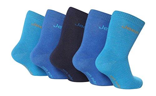 Jeep 5 Satz von Jungen Baby Marke Baumwolle reich Socken (16-18 Eu - 6-12 Monate, JBB07 blau)