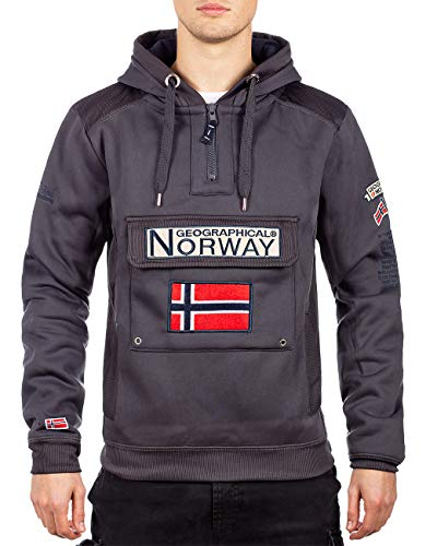 Geographical Norway - Sudadera con capucha para hombre gris oscuro L