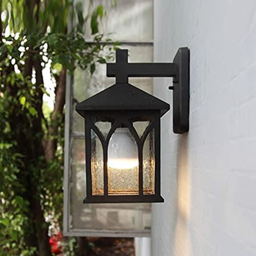 Linterna De Pared Al Aire Libre, Accesorio De Luz Impermeable Exterior De La Pared, Lámpara De Montaje De Pared Anti-óxido Negro Mate Con Sombra De Cristal Transparente, Lámpara De Pared Para Puerta D