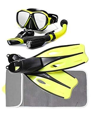P+Co Snorkel/Scuba Diving Mask & Long Fin Set in Mesh Bag Gear Set- Adult Snokel, Mask, Fins and Travel Bag (Yellow, M)